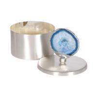 Mavi Taşlı Gümüş Rengi Dekoratif Kutu S