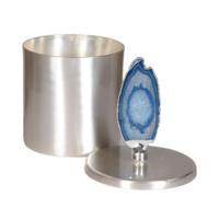 Mavi Taşlı Gümüş Rengi Dekoratif Kutu L