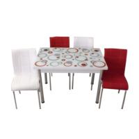 Mutfak Masası Takımı Cam Kırmızı Halka Yan Açılır Masa+3 Beyaz +3 Kırmızı Deri Sandalye