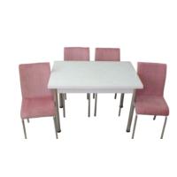 Mutfak Masası Takımı Cam Beyaz Yan Açılır Masa+6 Pembe Tay Tüyü Kumaş Sandalye
