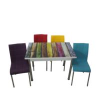 Mutfak Masası Takımı Cam Renkli Yan Açılır Masa +1 Mavi+ 1 Kırmızı +1 Sarı+1 Mor Deri Sandalye