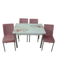 Mutfak Masası Takımı Cam Melodi Yan Açılır Masa +4 Pembe Tay Tüyü Kumaş Sandalye