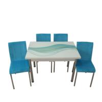 Mutfak Masası Takımı Cam Turkuaz Kuşak Yan Açılır Masa +6 Mavi Tay Tüyü Kumaş Sandalye