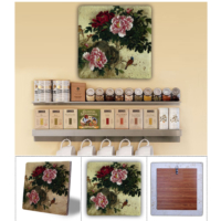 Oscar Stone Pembe Çiçekler Ve Yaprakları Doğal Taş Tablo - 20X20 Cm