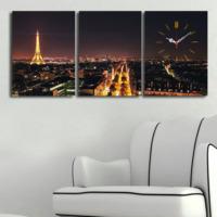 3 Parça Kanvas Saat - Paris Şehir