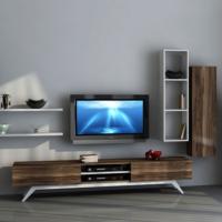Sanal Mobilya Hayal Tv Ünitesi 12547 -Leon Ceviz-Parlak Beyaz
