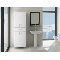 Bestline Zambak 4 Kapaklı Tek Çekmeceli Banyo Boy Dolabı - Beyaz