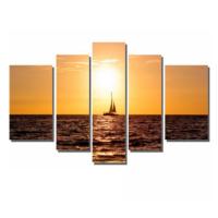 Dekor Sevgisi Batan Güneş Deniz ve Kayık Tablosu 84x135 cm