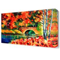 Dekor Sevgisi Sonbaharda Köprü Canvas Tablo 45x30 cm