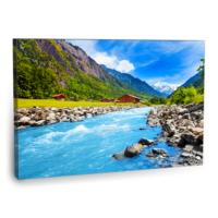 Fotografyabaskı Nehir Kenarı Tablosu İsviçre 75 Cm X 50 Cm Kanvas Tablo Baskı