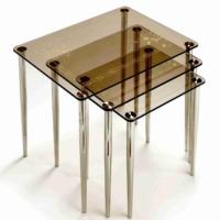 Ku-Cam Karan Zincir Temalı Bronz 3'Lü Orta Cam Zigon Sehpa