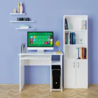 Eyibil Mobilya 3 Lü Oda Seti Duvar Raflı Kitaplıklı Çalışma Masası Parlak Beyaz