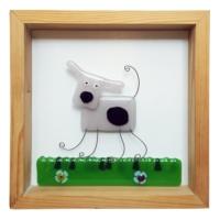 Cool Glass Design Pembe Sevimli Köpek Cam Duvar Süsü 25 x 25 cm El Yapımı