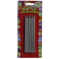 Pandoli Gümüş Renk Uzun Mum 12 Li