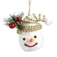 Kikajoy Simli Taşlı Kardan Adam Yılbaşı Ağaç Süsü - 3 adet