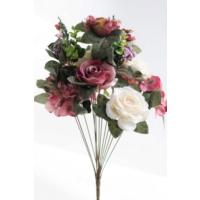 Yapay Çiçek Deposu Yapay Çiçek 13 Dal Lüx Gül Aranjmanı Gül Kurusu-Krem