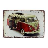 T-Bek Dekoratif Vintage Metal Pano VW T2 Red 20x30