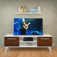 Eyibil Mobilya Ateş 140 cm Tv Sehpası Tv ünitesi Duvar Raflı Beyaz-Abanoz