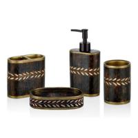 Cemile Başaklı Kahverengi 4lü Banyo Seti