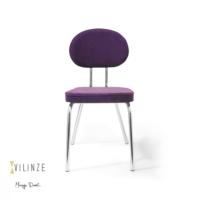 Vilinze Bulut Sandalye, Mor Flok Kumaş, Krom Ayak 2'Li Kutu, Vilinze Tasarım Sandalyeler, Masaya Davet