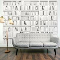 İthal Üç Boyutlu Beyaz Kitaplık Duvar Kağıdı