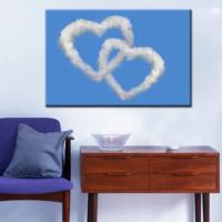 CanvasTablom T109 Kalp Şeklinde Bulut Kanvas Tablo
