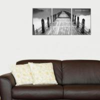 3 Parça Siyah Beyaz İskele Kanvas Tablo 30x63 cm
