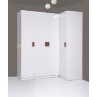 Kenyap Plus 812744 Stella Raflı&Üç Çekmeceli Dört Kapılı Köşe Sonsuz Gardırop-Parlak Beyaz