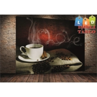 Yeshills Tablo Coffe Love Led Işıklı Kanvas Tablo 45 X 65 Cm