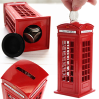 London Ingiliz Metal Telefon Kulübesi Şeklinde Kumbara / Metal Red British English London Telephone Booth Shape Coin Piggy Bank