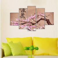 5 Parça Pembe Ağaç Çiçekleri Kanvas Tablo