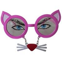Pandoli Bıyıklı Pembe Kedi Gözlüğü