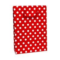 KullanAtMarket Kırmızı Puantiyeli Büyük Karton Çanta