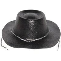 Pandolibağcıklı Simli Plastik Kovboy Şapkası