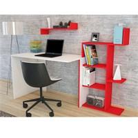 Minar Breed Çalışma Masası - Beyaz-Kırmızı