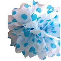 Pandoli 35 Cm Mavi Beyaz Puanlı Renk Pelur Kağıt Ponpon Çiçek Asma Süs
