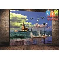 Tablo İstanbul Dalgalı Kız Kulesi Led Işıklı Kanvas Tablo 45*65 Cm