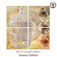 Artred Gallery Kafes Ve Kuş Dört Parça 83X83 Tablo
