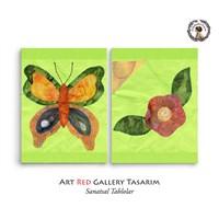 Artred Gallery Yeşil Kelebek Çiçek İki Parça103X50 Tablo