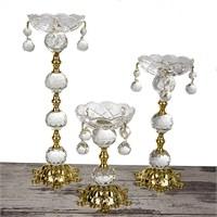 Mukko Home Altın Kristal Şamdan - 3'Lü Set