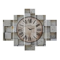 Clock Mango Multi Color Kanvas Tablo 100X80 5Prc
