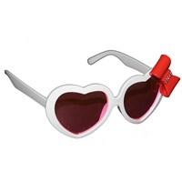 Pandoli Beyaz Renk Kurdelalı Kalpli Parti Gözlük