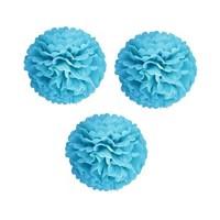 Pandoli 3 Lü Mavi Renk Pelur Kağıt Ponpon Çiçek Asma Süs 25 Cm