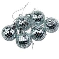 Pandoli 6 Lı Gümüş Renk Aynalı Top Süs 4 Cm