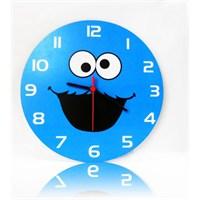 Köstebek Susam Sokağı - Cookie Monster Ahşap Duvar Saati