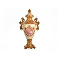 Lucky Art Krem Gold Kapaklı Vazo - Fx 048