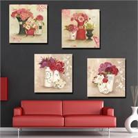 Artmoda - Çiçek Kanvas Tablo 4 Parça Set
