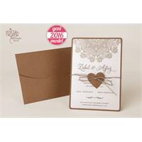 Moitlerle Süslü Hasır İpli Düğün Davetiye 100 Adet Zarflı
