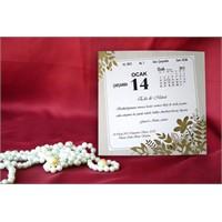Takvim Düğün Davetiye 100 Adet Zarflı
