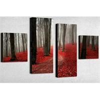 Tictac 4 Parça Kanvas Tablo - Kırmızı Yapraklar
